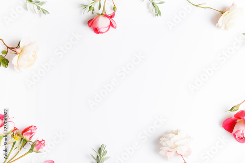 Festive pink flower English rose composition on the white background. Overhead top view, flat lay. Copy space. Birthday, Mother's, Valentines, Women's, Wedding Day concept.