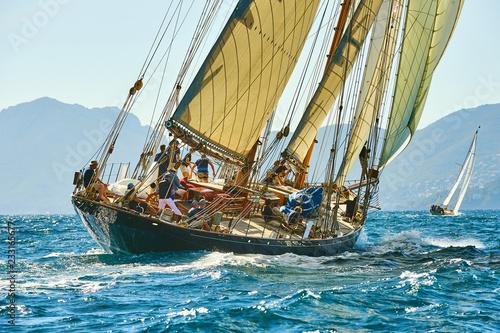 Sailing yacht under full sail