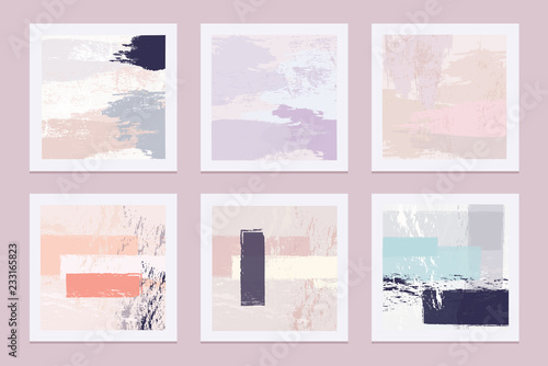 Collection of abstract artistic vector texture templates with pastel colored bru Canvas-taulu