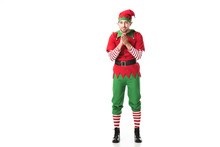 Excited Man In Christmas Elf C...