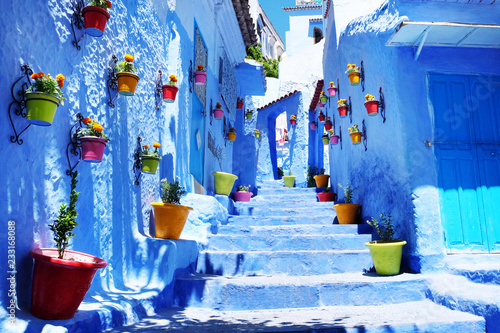 Deurstickers Traditional moroccan architectural details in Chefchaouen Morocco, Africa. Chefchaouen blue city in Morocco.