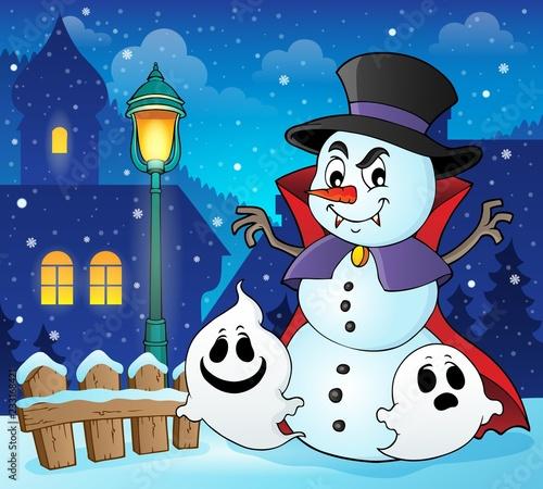 Staande foto Voor kinderen Vampire snowman theme image 2