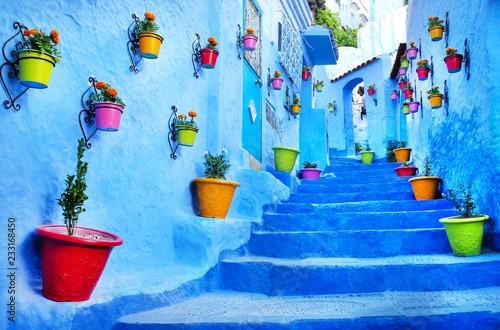 Deurstickers Traditional moroccan architectural details in Chefchaouen, Morocco, Africa