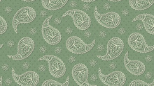 A Green Floral Paisley Pattern Background. Vector.