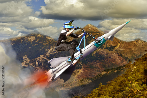 Conceptual image of biker flying on a rocket Canvas Print