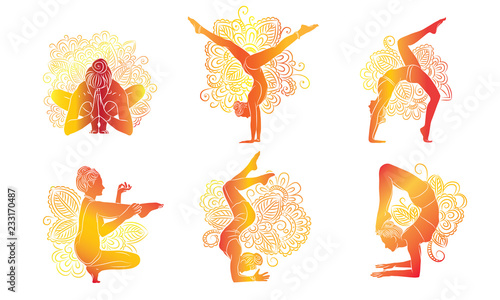 Vector set consisting of orange silhouettes of women doing yoga in different asanas on a white background Wallpaper Mural