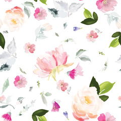 FototapetaVector seamless pattern with flower and plants in watercolor style.