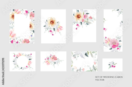 Foto op Aluminium Bloemen vrouw Set of vector floral elements and flowers in watercolor style for cards and wedding invitations.