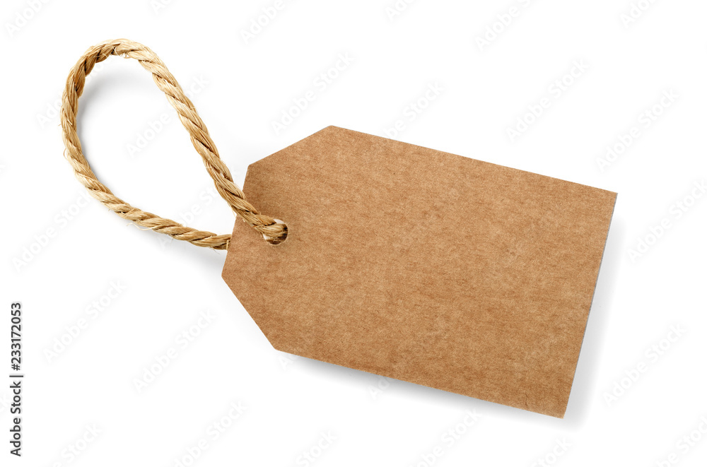 Fototapeta cardboard label with slim rope cord,isolated
