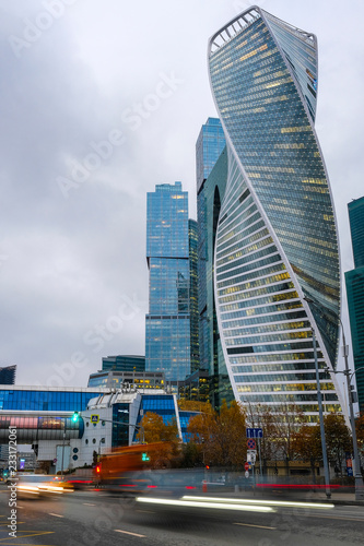 Fotobehang Stad gebouw Moscow, Russia - November, 10, 2018: Skyscrapers of Moscow city