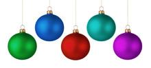 Set Of Colorful Christmas Balls Isolated On White Background