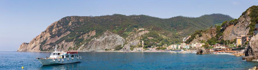 Panoramic view of Monterosso al Mare beach and coastline