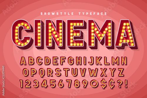 Fototapeta Retro cinema font design, cabaret, Broadway letters