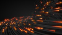 Black Strings With Glowing Heads In Dark. 3d Illustration