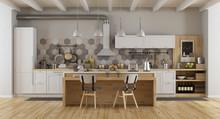 White Vintage Kitchen With Isl...