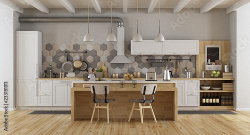 Fototapeta White vintage kitchen with island obraz