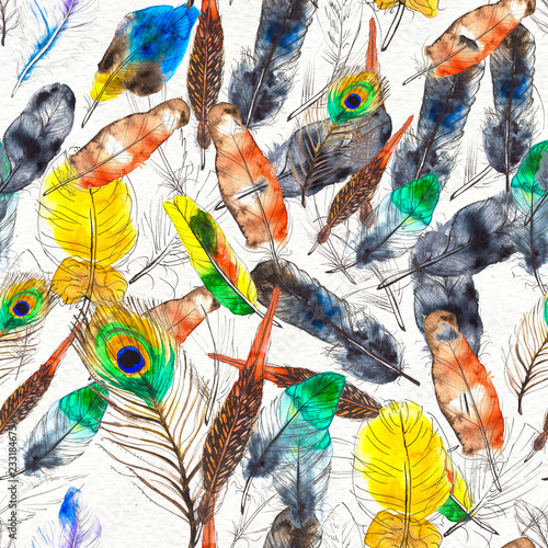 Deurstickers Paradijsvogel Watercolor feathers seamless pattern. Hand painted texture