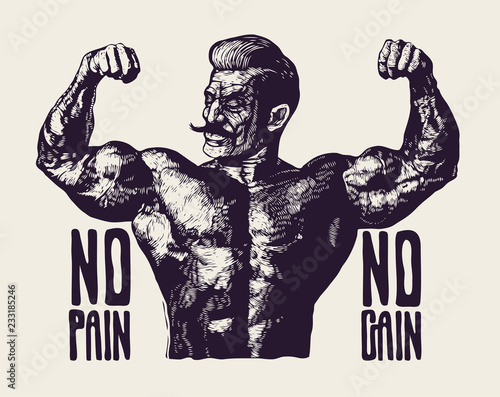 Canvas Print Design T-shirt or Poster No Pain No Gain! With Bodybuilder with a mustache