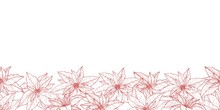 Endless Border With Beautiful Hand Drawn Poinsettias In Lineart Stile.