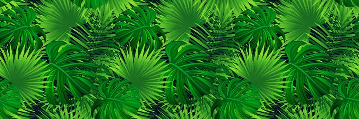 Tropical banner. vector illustration. jungle plants, palms leaves background....