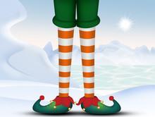 Elf Legs In Winter Landscape