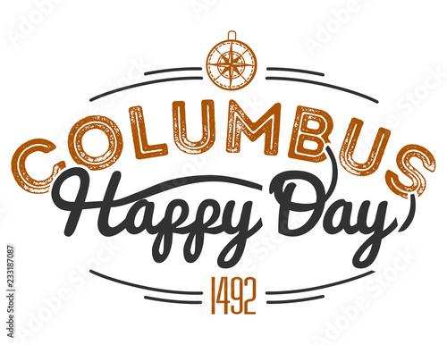 Fotografia, Obraz  Happy Columbus Day lettering inscription logo sign