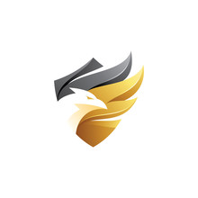 Modern Gradient, Eagle, Falcon, Hawk Bird And Wing Shield Logo