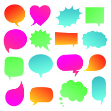 16 Speech Bubbles Gradient Flat Style Design Another Shapes Without Texts Hand Drawn Comic Cartoon Style Set Vector Illustration Isolated On White Background. Round, Cloud, Square, Heart, Rectangle...