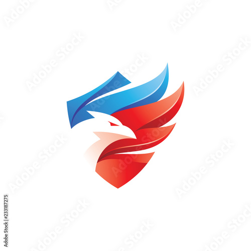 Valokuvatapetti Modern gradient, eagle, falcon, hawk bird and wing shield patriot logo