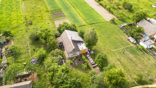 Fotobehang Luchtfoto Aerial view of a private house in the field