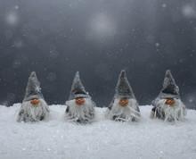 Vier Wichtel Im Schnee