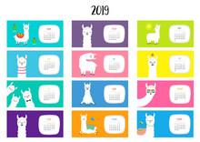 Llama Alpaca Calendar 2019. Ho...