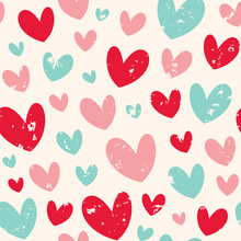 Cute Seamless Vector Pattern With Hearts. Can Be Used For Wallpaper, Fabric Fills, Web Page Background, Fabric, Surface Textures, Gifts, Wrapping Paper, Scrapbook, Fabric, Wallpaper.