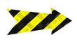 canvas print picture Yellow and black stripes danger warning pattern metallic iron direction arrow sign with steel checker plate (or diamond plate) industrial metal texture pattern cut out isolated on a white background
