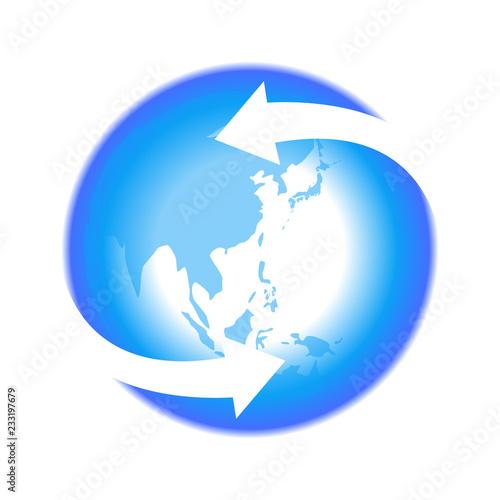 リサイクル矢印青色地球イラストアイコン素材 Adobe Stock でこのストックベクターを購入して 類似のベクターをさらに検索 Adobe Stock