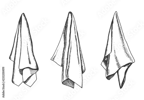 kitchen towels vector sketch. napkin drawing isolated object Billede på lærred