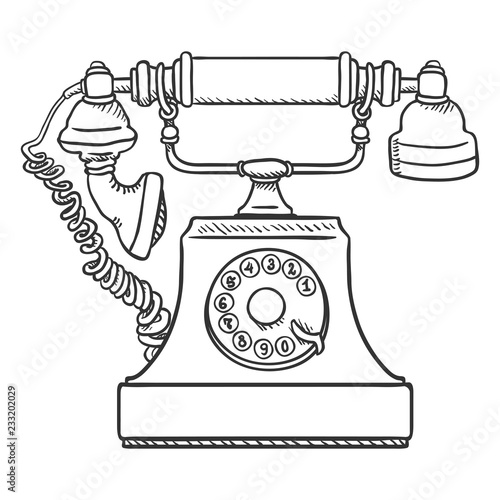 Vector Sketch Old Vintage Telephone  Retro Rotary Phone