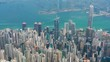 Aerial panoramic view of Hong Kong skyline, modern city with skyscrapers and famous Asian Metropolis - landscape panorama of China from above, Asia