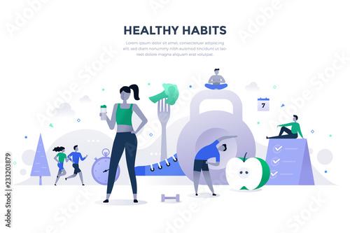 Fotografia Healthy Habits Flat Concept
