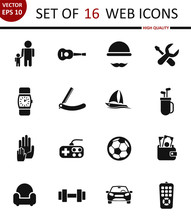 Father Day. Set Of 16 High Quality Web Icons