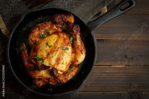 Photo Thanksgiving Xmas Dinner Whole Chicken Roast or Cornish hen fry
