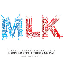 Typography Design With Words On The Text MLK In American Flag Colors On An Isolated White Background