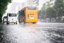 Heavy Rain Falls On Asphalt Wi...