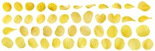 Potato Chips Snack Set Collection Isolated On White Background With Clipping Path