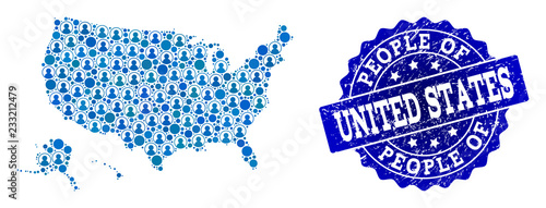Photo People collage of blue population map of USA territories and grunge stamp