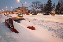 Buried Car In Street During Snow Storm In Montreal Canada