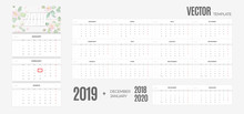 Wall Monthly Calendar 2019 Year. Vector Colorful Template