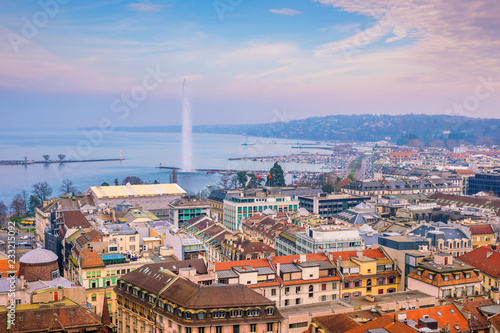 Leinwand Poster Top view of Geneva skyline from the Cathedral of Saint-Pierre