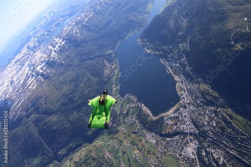 Fotografie, Obraz  Wingsuit skydiving over Norway