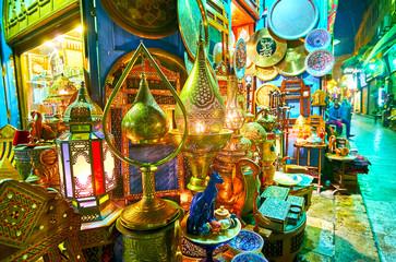 The lamp store in Khan El Khalili Bazaar, Cairo, Egypt